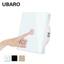 UBARO ue/royaume-uni verre trempé panneau mural interrupteur tactile capteur de lumière interrupteur Led rétro-éclairage interrupteurs électriques 2 gangs AC100-240V