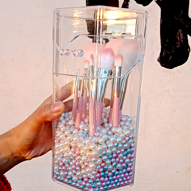 Acrylic Makeup Brush Holder Bucket Luxury Pearl Beauty Brush Container Pen Brush Container Desktop Container Without Brush
