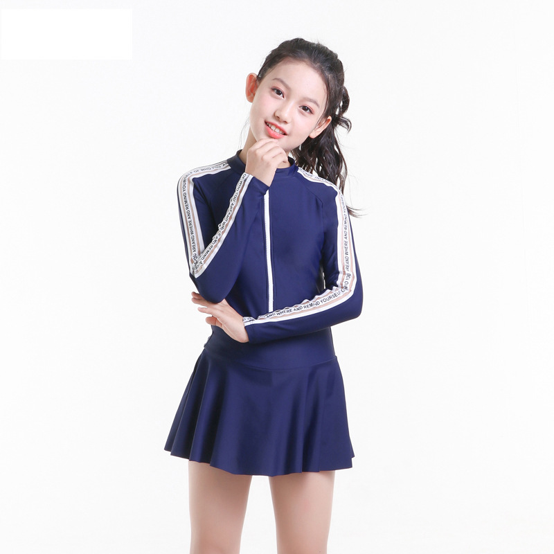 2019 New Style Hot Sales KID'S Swimwear Dress-Long Sleeve Sun-resistant Solid Color Shao Nv Kuan Big Kid Girls Swimwear