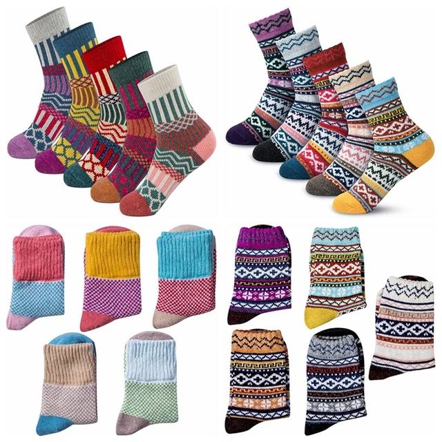 5 Pairs/Lot Warm socks women Winter Thick Cotton Socks Retro Colorful Socks Fashion Thick Needle Cotton woman socks winter|Socks|   -