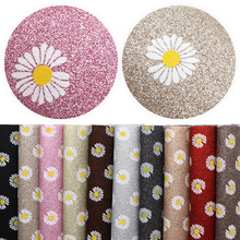 20*33cm Flower Printed Fine Glitter Faux Leather Fabric Vinyl Leatherette Clothing Upholstery DIY  Earrings Bows,1Yc11388