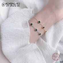 OBEAR 100%  925 Sterling Silver Square Green Zircon Bracelets Elegant Luxurious Womens Bracelets Jewelry Girls Gift jewelry bracelet exclaim for womens 033s2387b jewellery womens bracelets accessories bijouterie