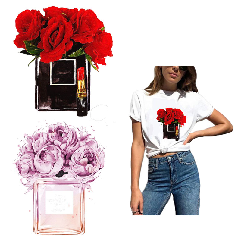 Vogue Flower Patch Iron On Patches For Clothing DIY Washable Sticker On Clothes Girl T-shirt Bags Heat Transfers Appliqued Y257