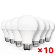 Ampoules LED 3W 5W 9W 12W 15W 18W 20 W, 220/240 V AC, E27, 10 pièces, puissance réelle, pour éclairage de salon et maison