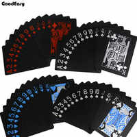1deck Quality Black Waterproof PVC Plastic Magic Playing Card Set Durable Poker Board Game Texas Magic Box-packed 54pcs/Deck