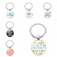 цена на 2019 New Veux Tu Etre Ma Marraine Tassel Keychain You Want To Be My Godmother Keychain Ladies Glass Jewelry