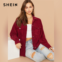 SHEIN Flap Pocket Front Cord Casual Jacket Coat Women Autumn Winter Single Breasted Long Sleeve Casual Solid Outwear Coats cheap REGULAR Button Pockets swjacket07190806680 STANDARD Jackets Polyester spandex Patchwork Outerwear Coats Turn-down Collar