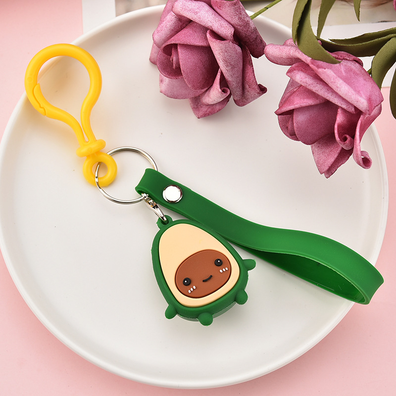 2019 Fashion Cartoon Avocado Key chain Pendant PVC Soft Plastic Fruit Key chains Women Bag Pendant children 39 s Toy Key Ring in Key Chains from Jewelry amp Accessories