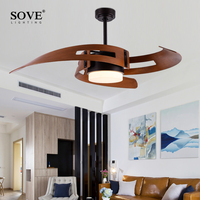 Creative Design Vintage LED Ceiling Fan With Lights Industrial Bedroom Nordic Ventilador De Techo 220 Volt Ceiling Light Fan