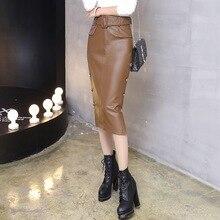 winter skirts women high waist package buttocks PU leather Button belt khaki skirt ladies clothing black straight skirts
