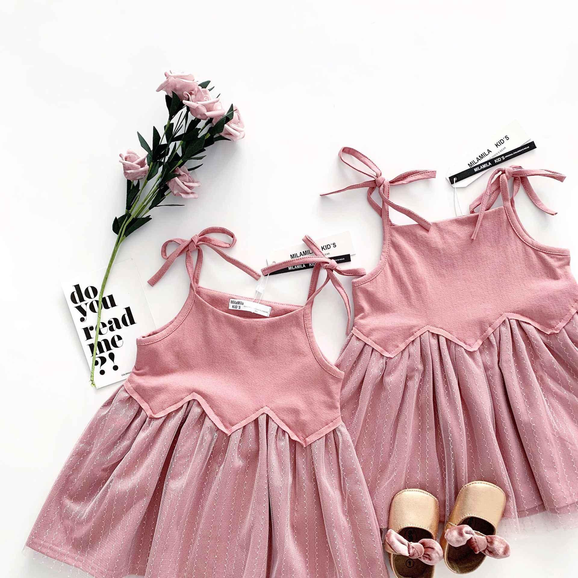Tonytaobaby Sommer Neue Mädchen der Net Garn Lotus Kleid Mädchen Hosenträger