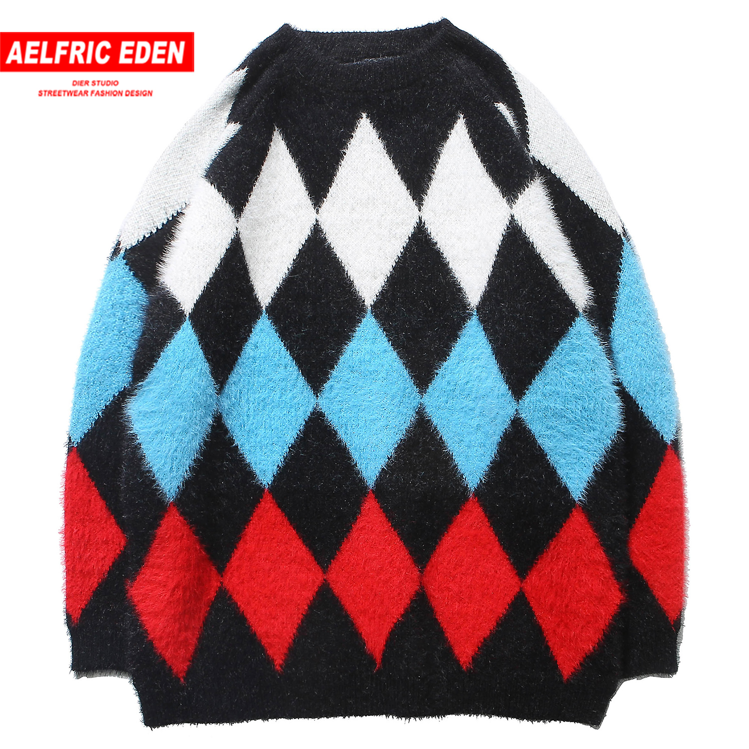 Aelfric Eden Argyle Knitwear Mens Sweaters 2019 Harajuku Fashion Male Oversized Hip Hop Tops Casual Streetwear Pullovers Outwear