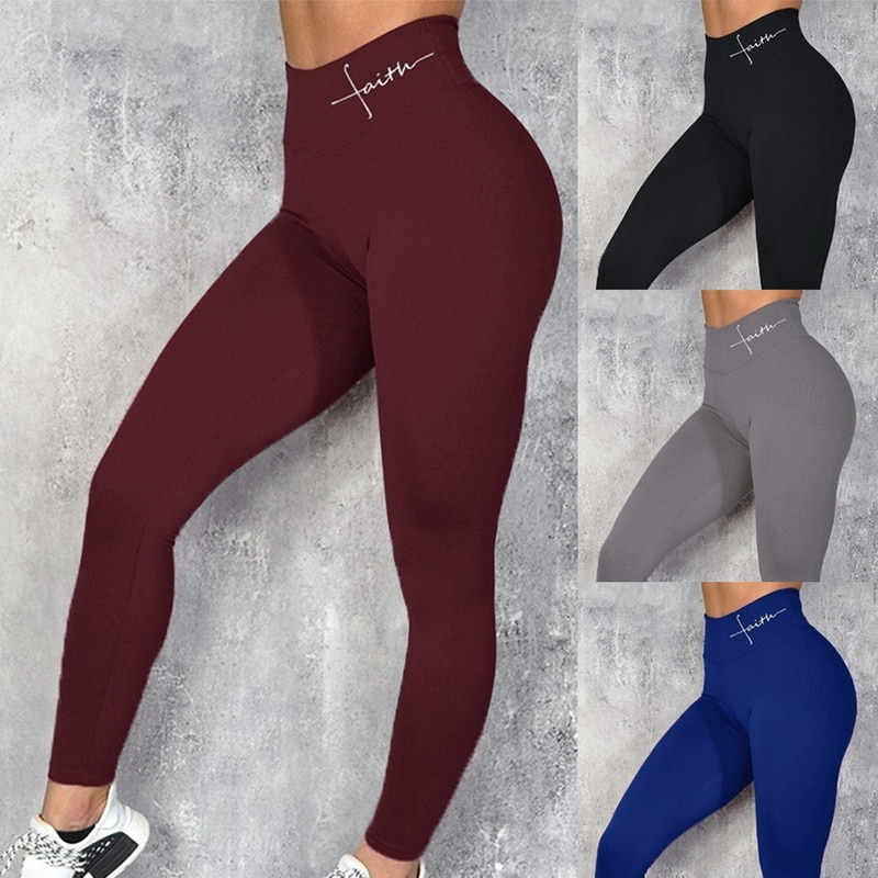 SALSPOR Energy Seamless Yoga Pants Women Letter Print Fitness Sports Leggings