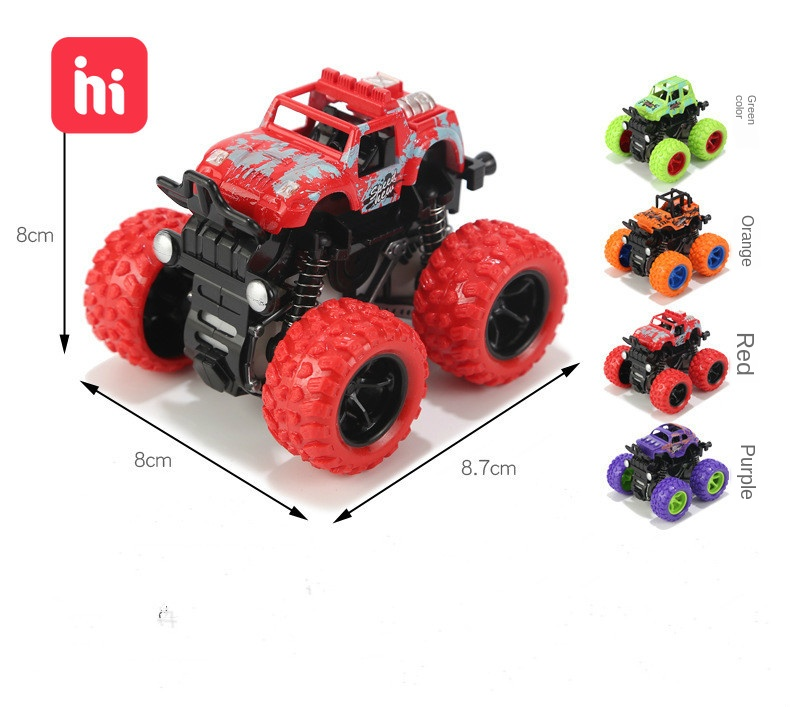 Children's Toys Four-Wheel Drive Inertia Cross-Country Rolling Cart With Stunt Boy Model Stall Toys