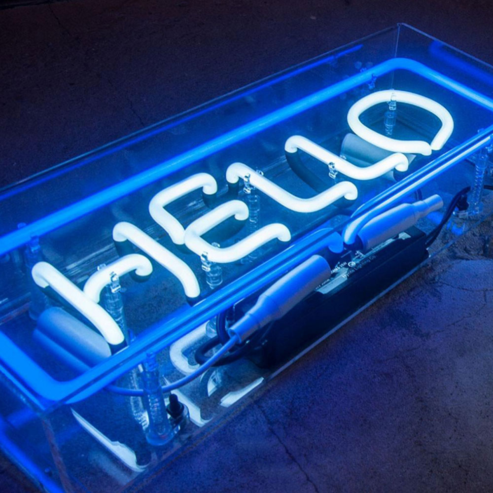 Waterproof Creative Hangmade Blue Neon Lights Hello Signs Neon Tube Light With Clear Box Brightness Neon Logos Signs For Display