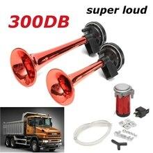 Chrome Dual Tone Trumpet Air Horn Kit Compressor Speaker 12V 300dB Super Loud Alarm Siren Hozzy Auto Truck Lorry Boat Train