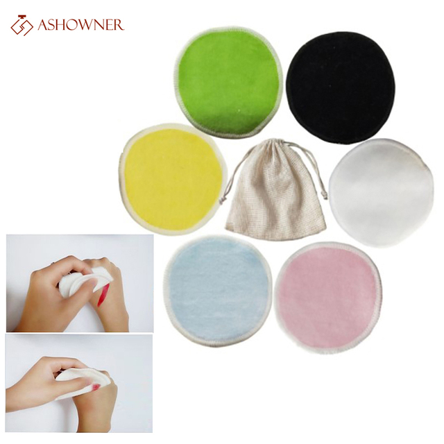 2/5pcs Reusable Bamboo Fiber Makeup Remover Pads  Washable Rounds Cleansing Facial Cotton Make Up Removal Pads Tool 1