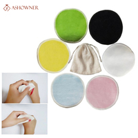 2/5 Uds reutilizable de fibra de bambú de removedor de maquillaje de almohadillas lavable rondas limpieza algodón Facial que eliminación de herramienta
