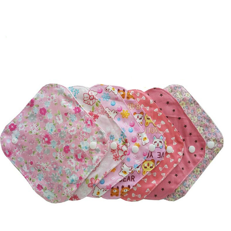 1pc Washable Women Menstrual Pad Sanitary Napkin Pads Reusable Panty Liner Cloth Waterproof Cotton Period Pad Feminine Hygiene