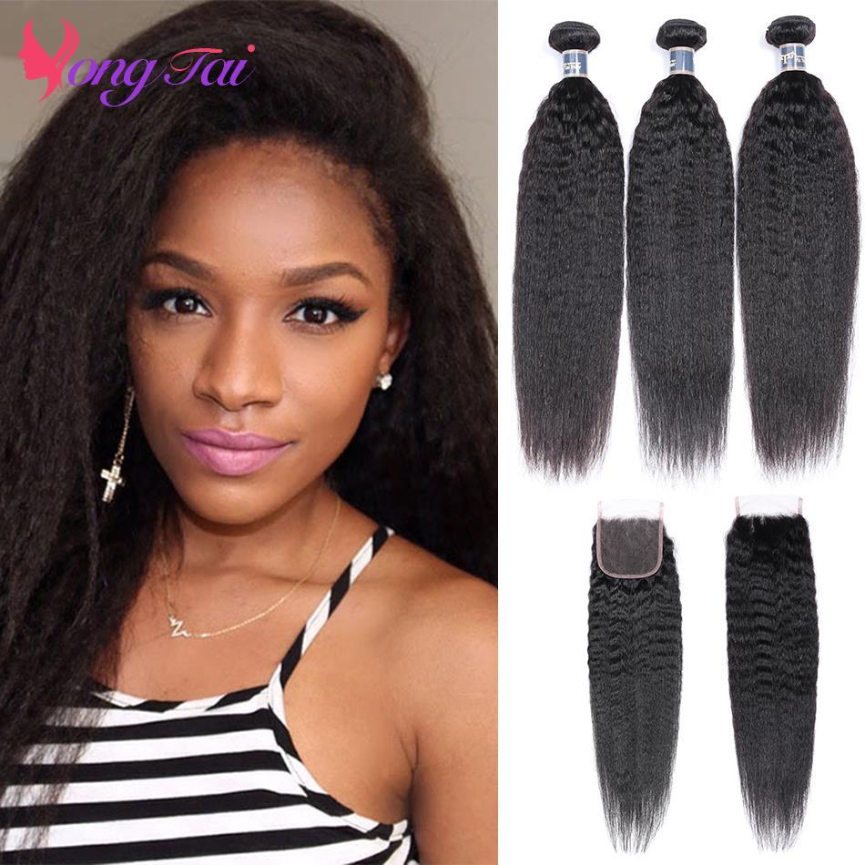 YuYongtai Brazilian Hair Weave Bundles With Closure Kinky Straight Human Hair 3 Bundles With Lace Closure Non-Remy Medium Ratio
