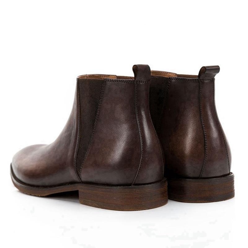 Модные мужские ботинки «Челси» ручной работы; обувь для верховой езды из натуральной кожи с острым носком; удобные мужские ботильоны с высо... - 6