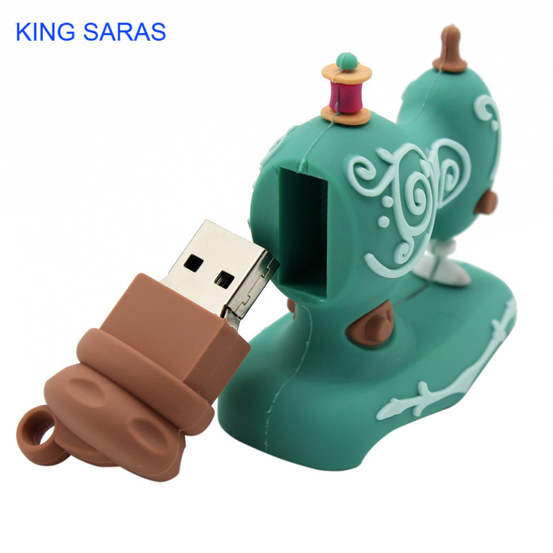 Image 2 - KING SARAS cartoon Beautiful creative Sewing machine model usb2.0 4GB 8GB 16GB 32GB 64GB pen drive USB Flash Drive  Pendrive-in USB Flash Drives from Computer & Office
