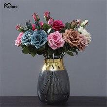 1 комплект шелк роза букет свадьба украшение аксессуары дом вечеринка альбом для вырезок подделка растения поделки искусственный розы цветы