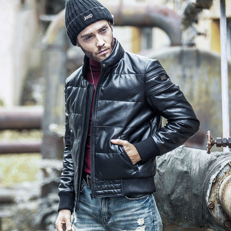 Winter Genuine Leather Jacket Men Short Sheepskin Coat Men's Down Jacket Plus Size Chaqueta Cuero Hombre WP16c711 KJ1410
