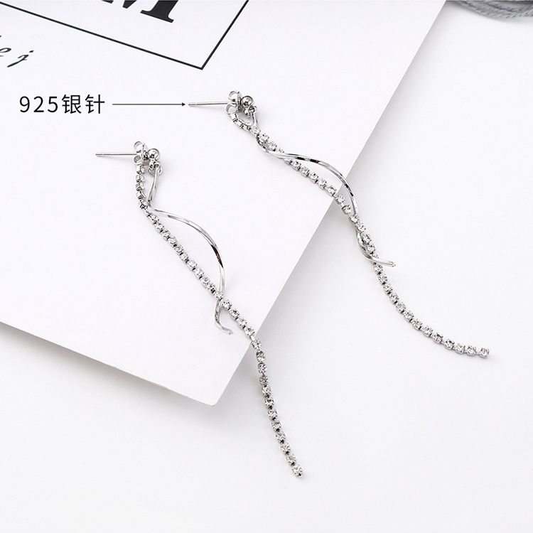 2019 Real Copper Brincos Para As Mulheres Brinco S925 Needle New Korean Slender Liushu Earrings Lady Fashion Set Simple Crystal in Stud Earrings from Jewelry Accessories