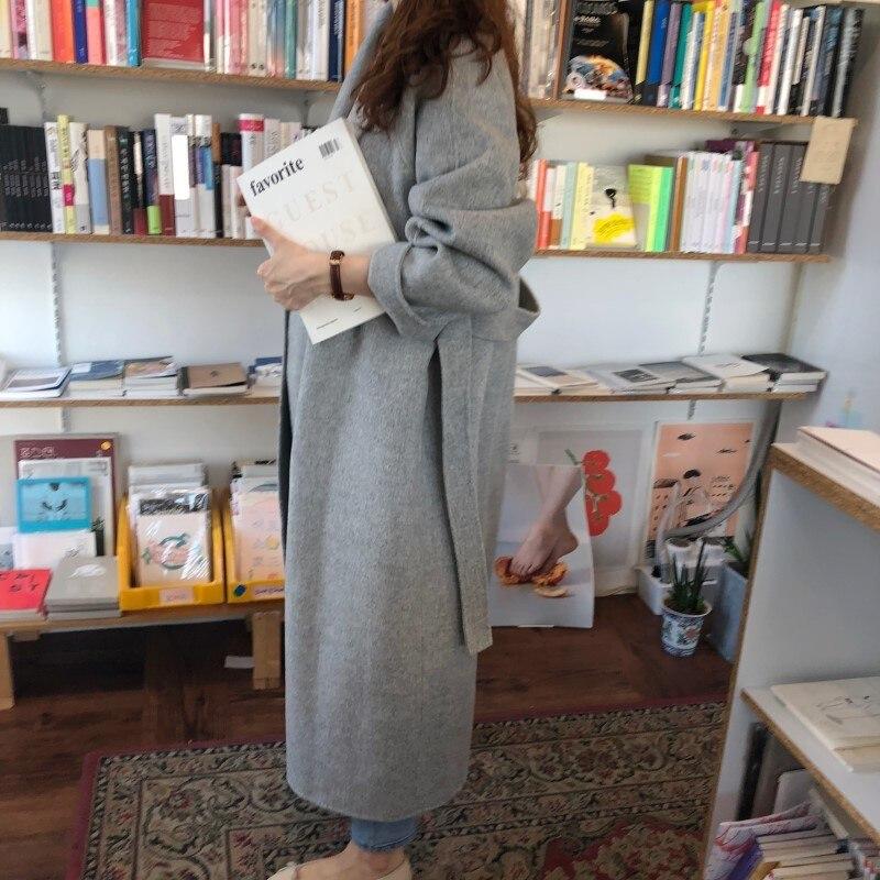 19 Winter Oversize Long Trench Coat Women Cashmere Coat Korean Lady Windbreaker Outwear Streetwear 42