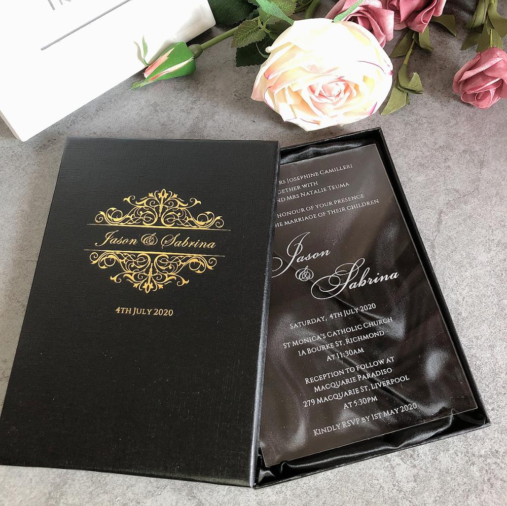 50 free personalized custom clear glass acrylic wedding invitation cards with boxes