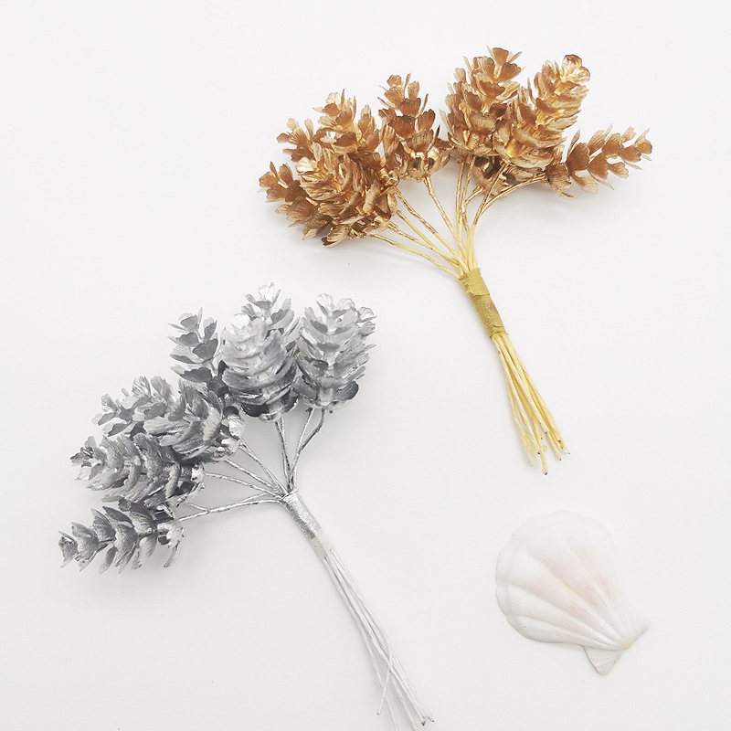 Christmas Decoration For Home Party Golden Silver Tree Pine Branches Pine cone Snowflake Branches Artificial <font><b>Fllower</b></font> Fake Plants image