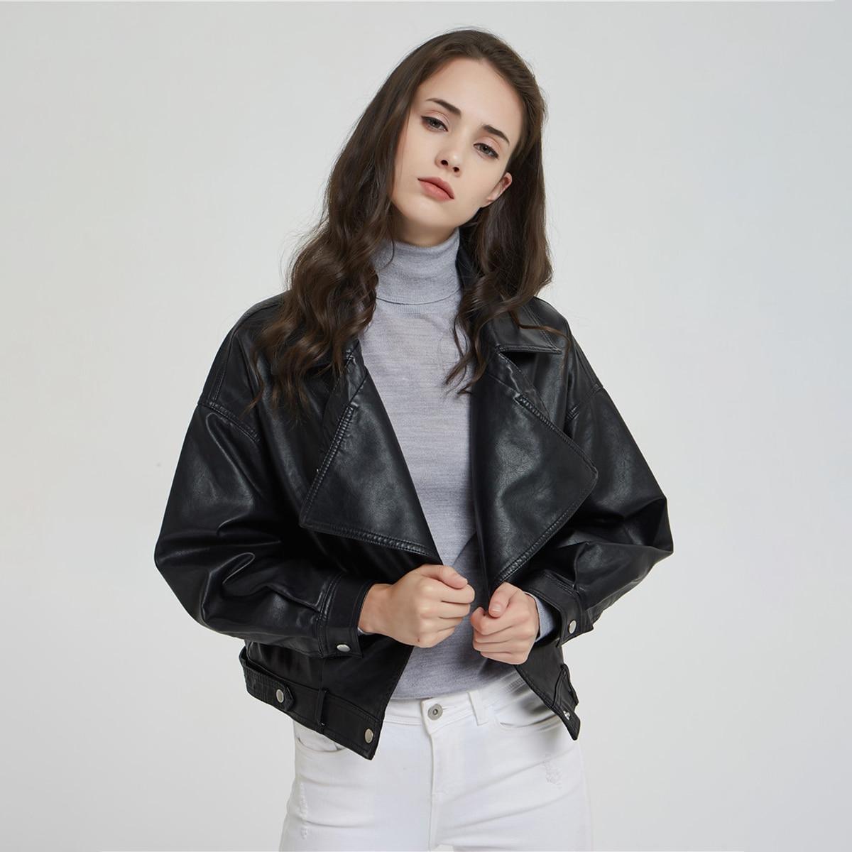 Black Single Breasted Short   Leather   Coat Puff Sleeve Belted Pocket Rivet Faux Jacket 2019 Autumn Women Loose Vintage Outwares