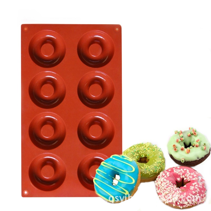 Handmade Set Meal Baked Donut Mold 8 Cavity Diy Donut Silicone Baking Tray And Cake Decoration Tools