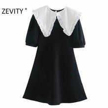 Zevity nuevo dulce mujer encaje agárico blanco Peter Pan Collar tejido de retazos negro Mini Vestido mujer manga corta Vestido DS4586