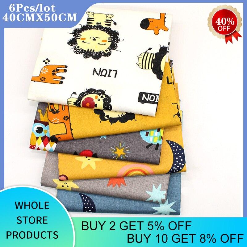 6 Teile/los Gedruckt Twill Baumwolle Satin Stoff, Der König Der Löwen, patchwork Tuch Für DIY Nähen Quilten Baby & Kind der Bettwäsche