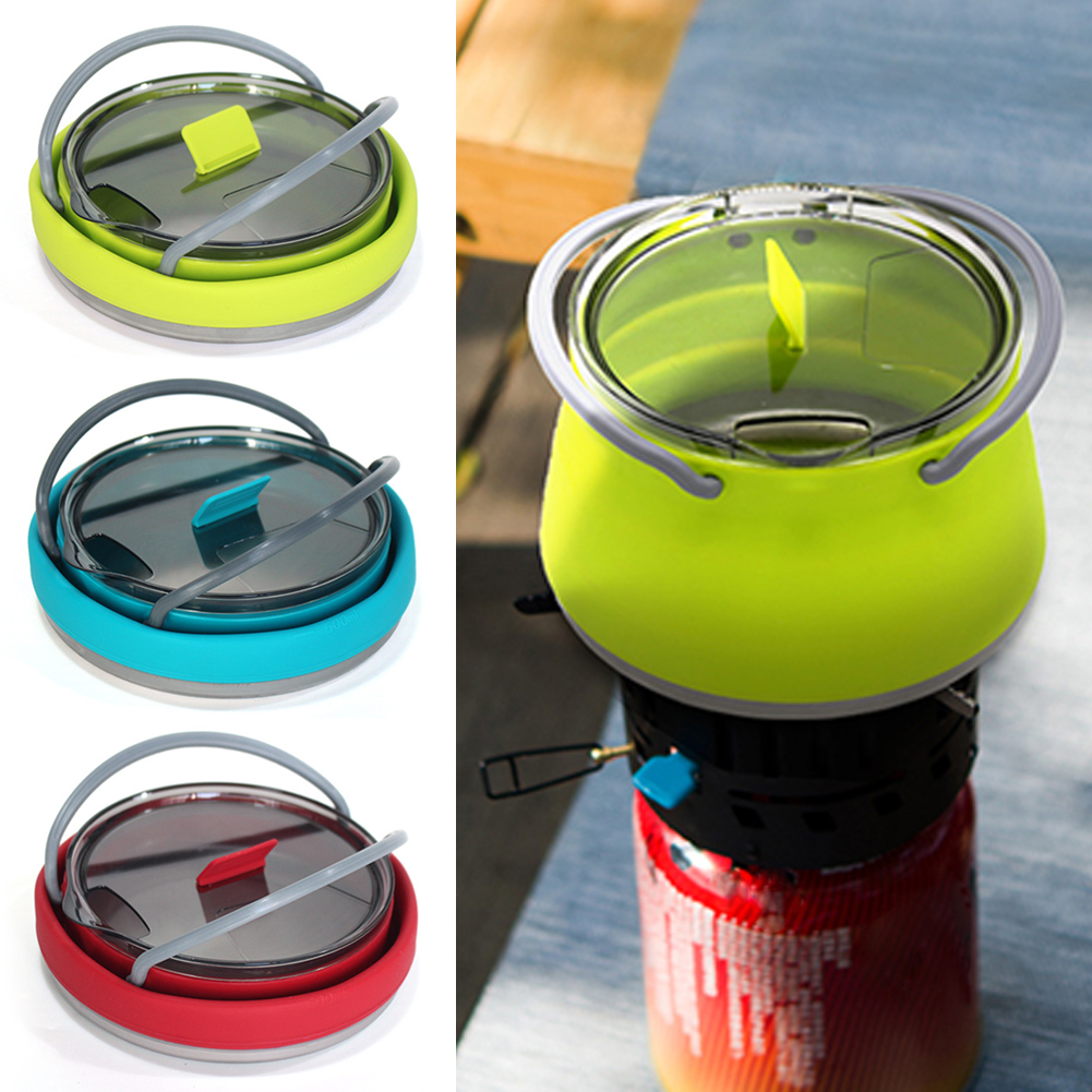 Silicone Folding Kettle Portable Field Camping Open Fire Coffee Tea Cassette Cooker Outdoor Camping Hiking Backpacking Pot