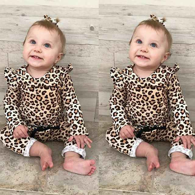 PUDCOCO Newborn Baby Girl Leopard print Clothes T-Shirt Tops +Long Pants Casual Outfits Support wholesale