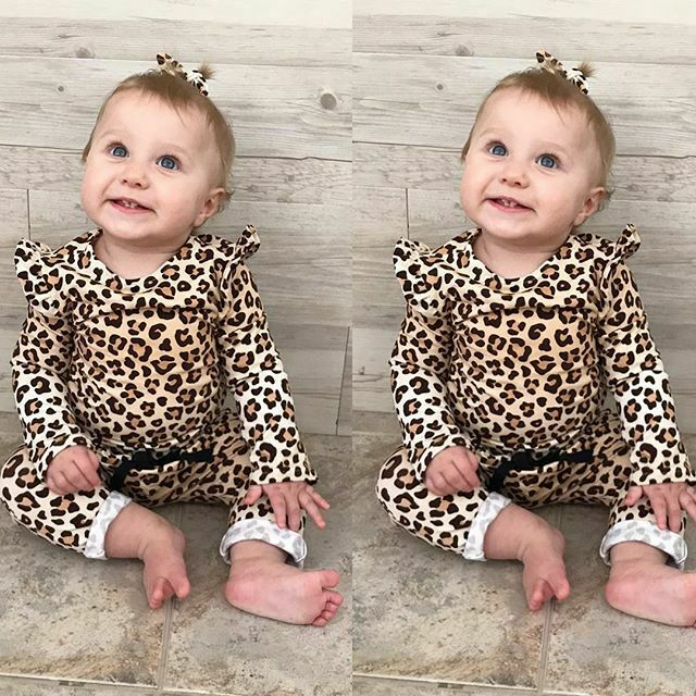 PUDCOCO Newborn Baby Leopard Print Clothes T-Shirt Tops +Long Pants Casual Outfits Support