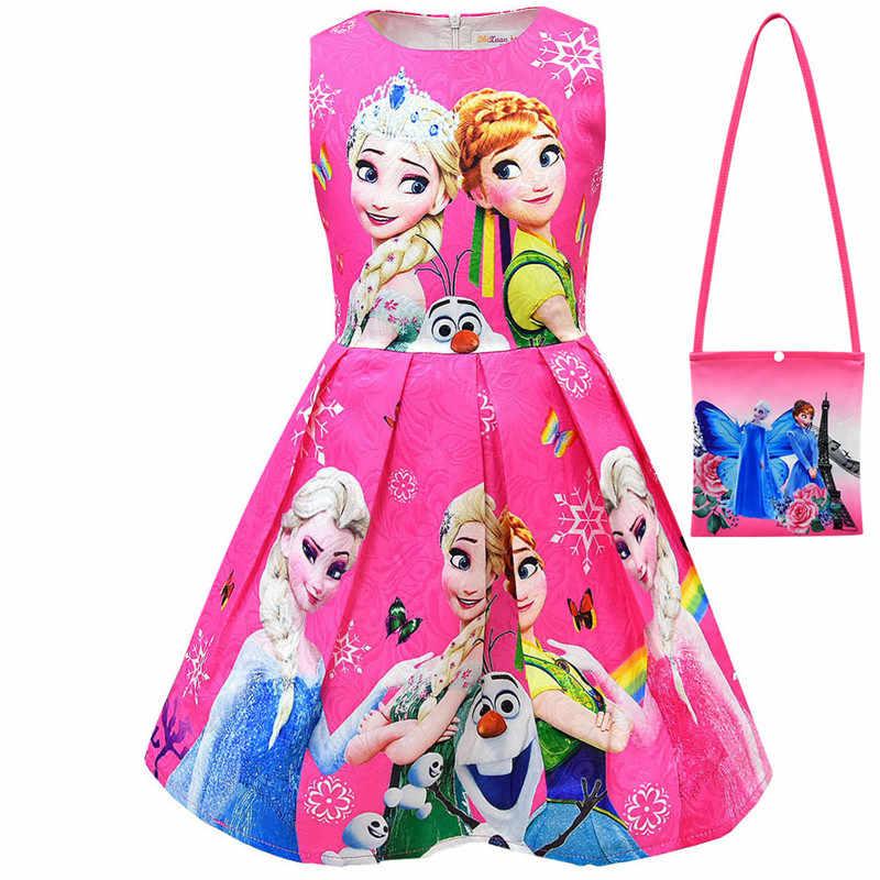Kızlar Elsa Sequins parti prenses elbise bebek kız yaz zarif uzun kollu mavi elbise doğum günü partisi fantezi balo elbise