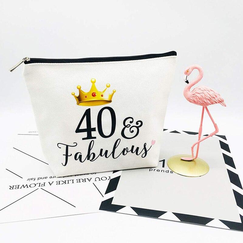 40 & fabuloso lona maquiagem cosméticos saco de viagem sash mulher 40th 40 anos de idade aniversário festa presente decoração suprimentos