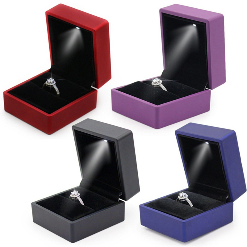 LED Light Cube Ring Gift Box Portable Ring Earring Bracelet Jewelry Storage Box For Couple Birthday Valentine's Day Gift Packin