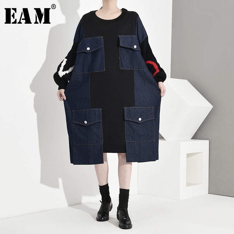[EAM] Women Knitting Split Denim Big Size Dress New Round Neck Long Sleeve Loose Fit Fashion Tide Spring Autumn 2019 1K666