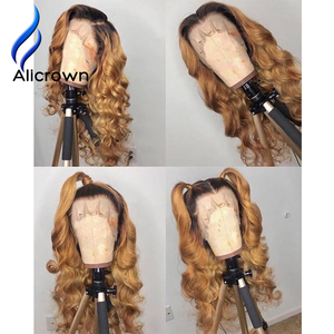 Image 4 - ALICROWN Ombre Lace Front Human Hair Wigs Brazilian Non Remy Hair 13*4 Lace Wigs 1b/27 Pre Plucked Wigs With Baby Hair