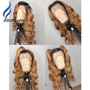 Image 4 - ALICROWN Ombre dantel ön İnsan saç peruk brezilyalı olmayan Remy saç 13*4 dantel peruk 1b/27 ön peruk bebek saç ile