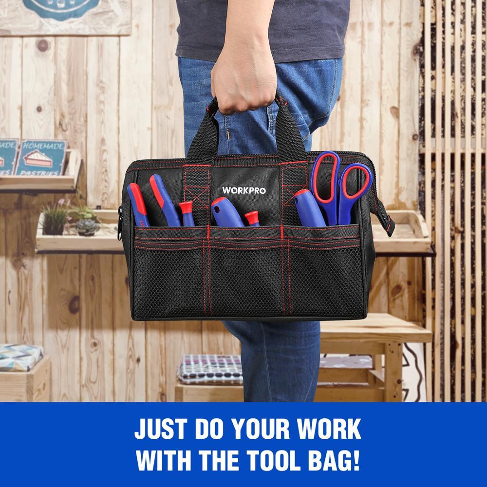 """Image 5 - WORKPRO сумка для инструментов из 2 предметов, набор инструментов 13 """"и 18"""", водонепроницаемые дорожные сумки, прочные сумкиstorage artworkstorage canvas bagsstorage pen  АлиЭкспресс"""