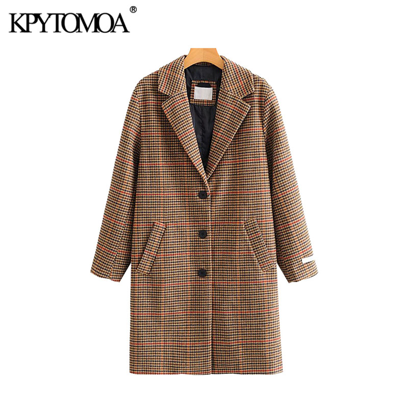Vintage Stylish Pockets Houndstooth Woolen Blazer Coat 2020 Fashion Notched Collar Long Sleeve Plaid Female Outerwear Chic Tops