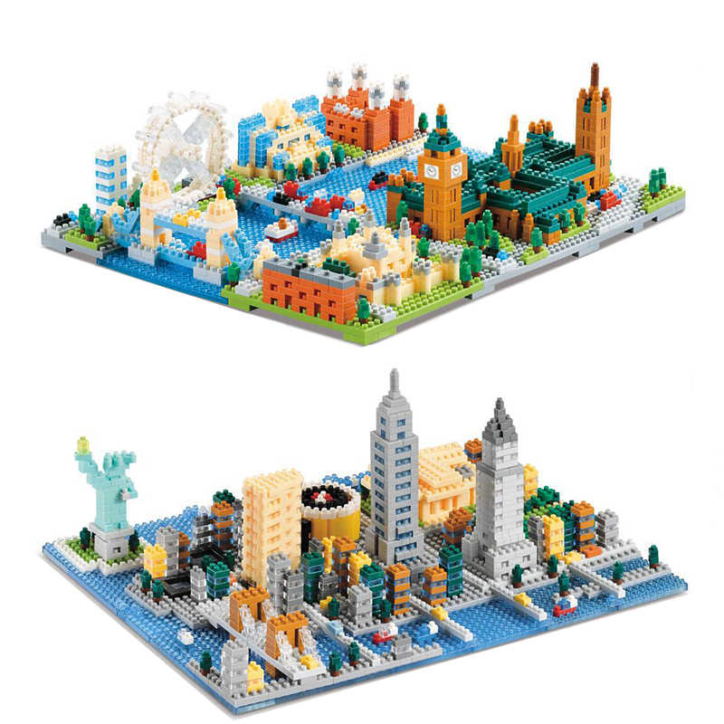 City New York London Street View No Compatible Legoed Architecture America England Model Buildings Blocks Kits Toys Gifts Nanoed