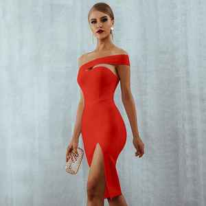 Image 3 - Seamyla 2020 Bandage Dress Sexy White Black Red One Shoulder Bodycon Summer Dress For Women New Celebrity Party Dresses Vestidos