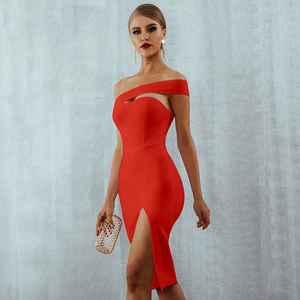 Image 3 - Seamyla vestido bodycon com faixa 2020, vestido sexy branco preto vermelho com alça única para o verão, vestidos de festa de celebridade